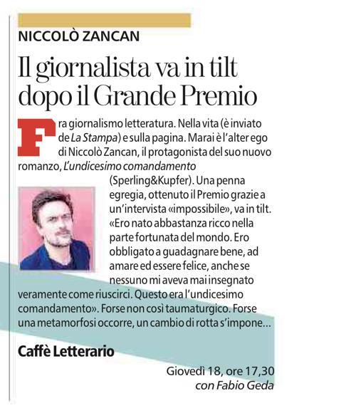 Tuttolibri La Stampa Niccolò Zancan Fabio Geda Salone del Libro Torino